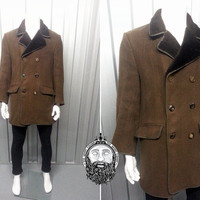 Vintage Mod Mens Tweed Coat Wool Overcoat Winter Jacket Double Breasted Faux Sheepskin Brown Trim Flap Pockets Mens Outerwear Plaid Lining
