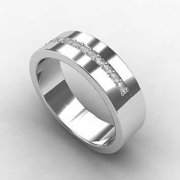 Diamond ring, palladium wedding band, diamond band, mens wedding ring, men diamond ring, unique, modern wedding, eternity, men palladium