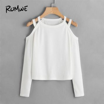 ROMWE White T Shirt Women Cold Shoulder Ribbed Tee Shirt Femme 2018 Autumn Womens Clothing Casual Ladies Tops Long Sleeve Shirts