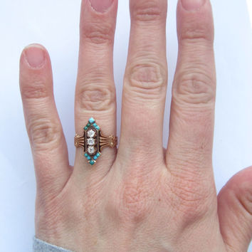 Antique (1882) VIctorian Turquoise and Diamond Rose Gold Engagement Ring 14K