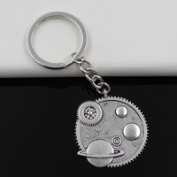 Fashion diameter 30mm Key Ring Metal Key Chain Keychain Jewelry Antique Silver Plated solar system galaxy 37mm Pendant