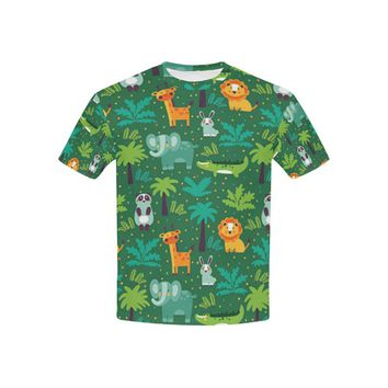 Wild Animals In Jungle All Over Print T-shirt for Kid (USA Size) (Model T40)