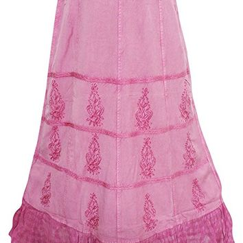 Mogul Interior Kristen Womans Maxi Skirt Rayon Floral Embroidered Pink A-Line Bohemian Festive Long Skirts L