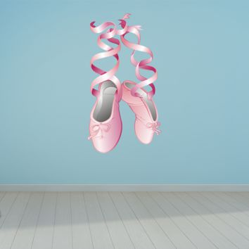 Wall Art Ballerina Dance Slipper shoes Wall Decals Removable Repositionable Fathead style