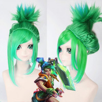 League of Legends LOLArcade Riven Fluffy Blue Highlight Straight Cosplay Wig