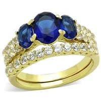 3 Oval Blue Stone Stainless Steel Wedding Ring Set