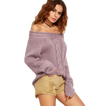 Ladies Purple Cable Knit Long Sleeve Off The Shoulder Pullover Sweater Fashion