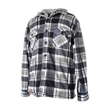 MEN'S PLAID FLANNEL SHIRT JACKET WITH HOOD