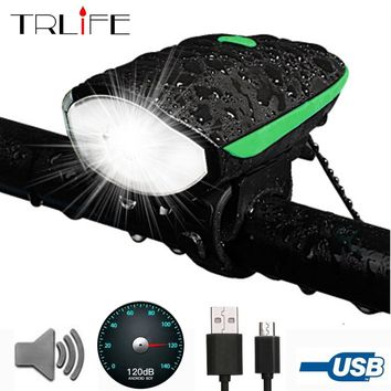 Bicycle Bike Front Light Head -T6 LED Bike USB Rechargeable Handlebar 3Mode Cycling Light Headlight With 120db Speaker