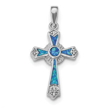 Sterling Silver Rhodium-plated CZ & Created Opal Cross Pendant QP4879