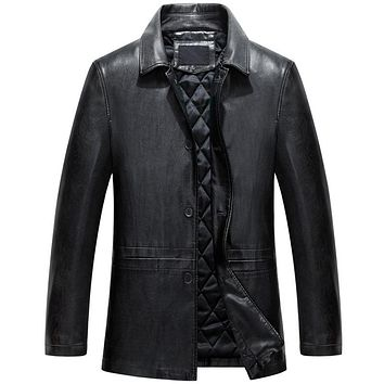 Spring Autumn Casual Slim Vintage Leather Motorcycle Jackets Turn Down Collar Leather Coats Men