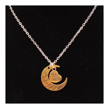 X329 love Valentine's Day love couple of European and American moon necklace ebay jewelry supply   DAD GOLD