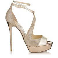 Light Gold Textured Leather and Glittery Fabric Platform Sandals | Valdia | Cruise 15 | JIMMY CHOO Shoes