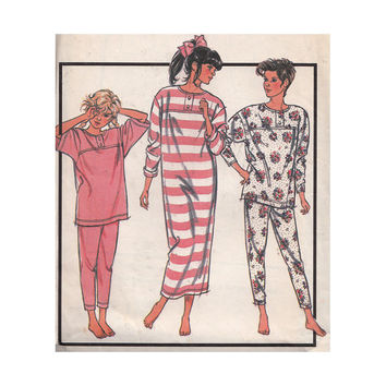 Girls Pajamas & Nightshirt Vintage 80s Style Pattern 1111 Tween Teen Size 12-14 Bust 30-32 Raglan Sleeve Tapered Top and Pants Stretch Knits
