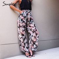 Simplee Perspective floral print loose women pants High waist sashes long pants Summer streatwear casual pants