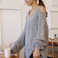 Grey Off The Shoulder Chunky Knitted Sweater. Oversized Cozy Knit Top