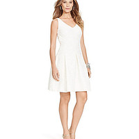 Lauren Ralph Lauren Floral V-Neck Fit & Flare Dress - White