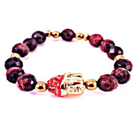 MMJ 'Buddha Bling Swag' Bracelet in Red & Gold