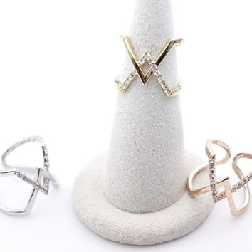 Double chevron V Band Infinity Ring detailed with CZ in 3 Colors- Adjustable Ring