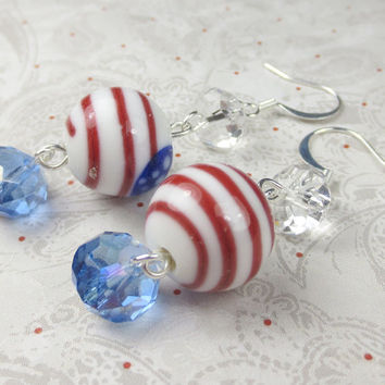 Red White and Blue flag earrings on lampwork round bead with czech glass, fourth of july, patriotic