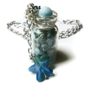 """Glass Bottle Necklace, Blue Turquoise Stone Filled, Starfish Charm Accents, 21"""" Chain"""
