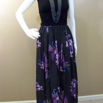 1960s Hawaiian Maxi Skirt - Black, Purple, Blue, Pink, White print