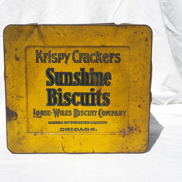Vintage Cookie Biscuit Tin, Sunshine Biscuits Loose-Wiles Chicago; Rustic Bakery Kitchen Metal Box