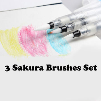 3 Sakura Paint Brushes Set Water Coloring Brush Paint Brush Nylon Hair Calligraphy Pen Brush Watercolor Painting Art Supplies Brushes Set