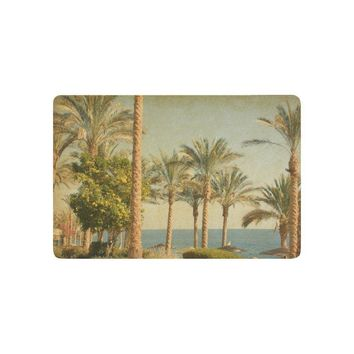 Autumn Fall welcome door mat doormat Nature Anti-slip  Home Decor, Vintage Retro Beach with Palm Trees amid the Blue Sea and Sky Indoor Outdoor  AT_76_7