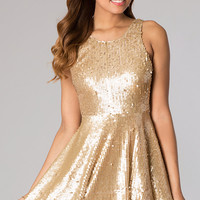 Short Sleeveless Sequin Dress