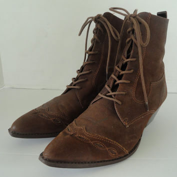 Vintage MIA Brown Genuine Leather Lace Up Tie Ankle Boot - 8M