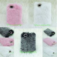 Ultra Luxury Authentic Soft Rabbit Fluffy Fur 3D Case For iPhone 5 5S SE W/Gift