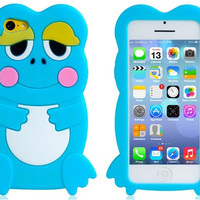 3D Frog Design Silicone Protective Case for iPhone 5C (Blue)