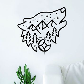 Wolf Adventure Decal Sticker Wall Vinyl Art Wall Bedroom Room Home Decor Teen Kids Baby Nursery Adventure Explore Mountains Moon Tattoo Animals