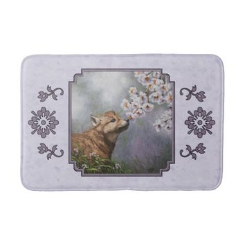 Wolf Pup and Flowers Bath Mats