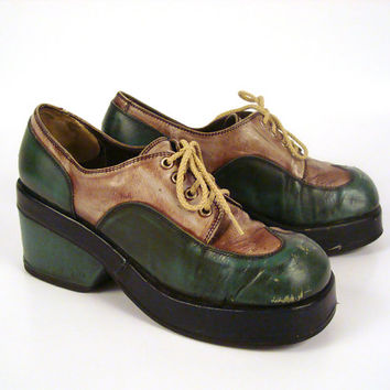 Platform Oxford Shoes Vintage 1970s Lace Up Green Blue Leather Small Size