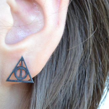 Harry Potter Earrings Deathly Hallows Earrings Post Stud Earrings Harry Potter Jewelry Geek Teen Jewelry Sterling Silver Gift Under 25