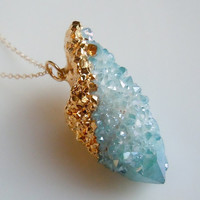 SPIRIT QUARTZ Necklace Aqua Aura Druzy : Aqua Blue