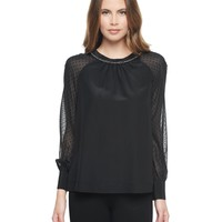 Pitch Black Flocked Chiffon & Silk Blouse by Juicy Couture,
