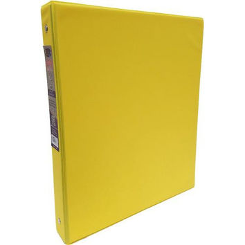 "1"" Yellow Vinyl 3-Ring Binder w/ 2 Pockets"
