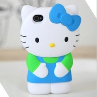 MicroDeal 3d hello Kitty Blue Ribbon Case/cover/protector Fits All Models of Iphone 4 & 4s