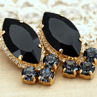 Black Gold Statement earrings, Swarovski Black earrings, cocktail statement earrings rhinestone fashion jewelry - 14 k Gold Plated