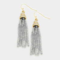 Long Beaded Tassel Earrings Grey, Gold Dangle Statement Earrings, Long Tassel Earrings, Long Dangle Earrings, Gift for Her, Gold Earrings