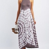 TIE-DYE HALTER MAXI DRESS