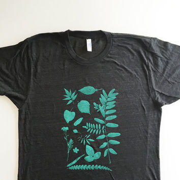 Botanical tee, plant shirt, leaves and flowers top, gardening shirt (size UNISEX EXTRA SMALL) screen printed shirt