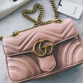 Gucci Women Chain Leather Crossbody Satchel Shoulder Bag