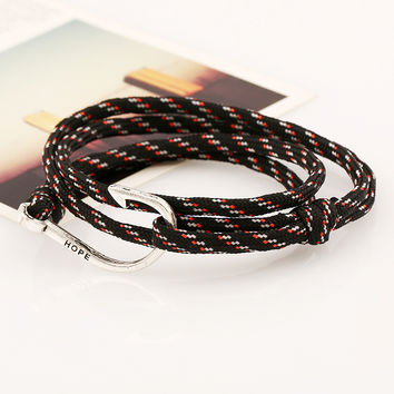 2016 Fashion Multilayer Nylon Rope Miansai Bracelets Silver Color Navy Anchor Hooks Charm Men Women Friendship Surf Bracelet