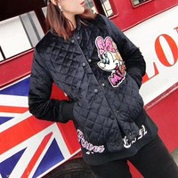 DCCKH3L Balenciaga' Women Fashion Sequin Cartoon Mickey Letter Embroidery Buttons Cardigan Long Sleeve Cotton-padded Clothes Jacket Coat
