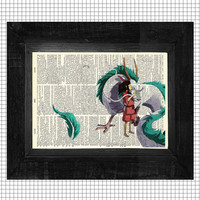 Spirited Away Chihiro and Haku Original Art Print on an Upcycled Antique Bookpage