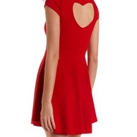 Heart Shaped Cutout Skater Dress by Charlotte Russe - Red